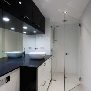 Black and white bathroom perth