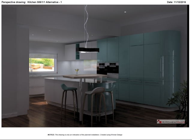 An example of a render of one of our kitchen projects