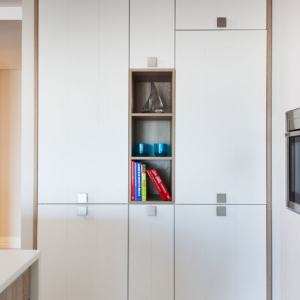 White cupboard with wood-look framing
